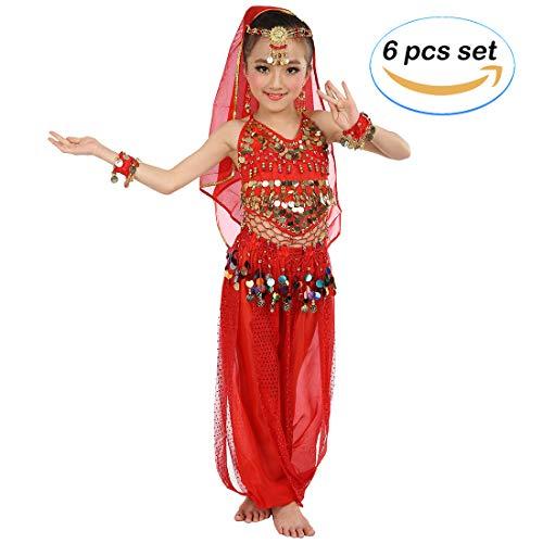 Magogo Mädchen Bauchtanz Kostüm Party Fancy Dress Glänzende Karneval Outfit, Kinder Arabische Prinzessin Kleidung Cosplay Dancewear (L, Rot) (Prinzessin Rote Kostüm Arabische)
