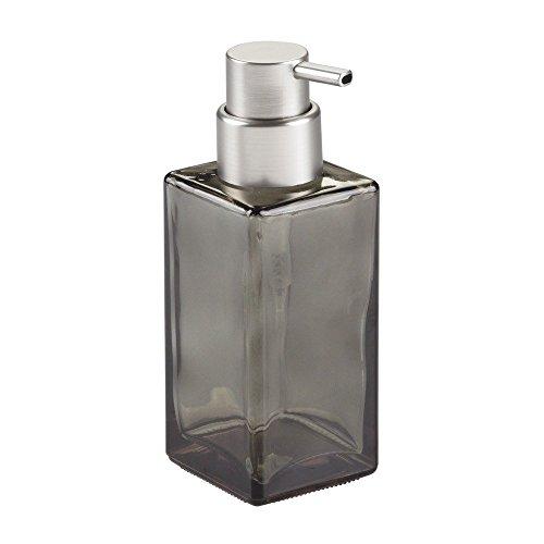 InterDesign - Casilla - Bomba dosificadora de jabón espuma, de vidrio, moderna; para cocina, tocador del cuarto de baño - Humo/cepillado
