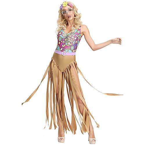 Hippie Weibliche Kostüm - kMOoz Halloween Kostüm,Outfit Für Halloween Fasching Karneval Halloween Cosplay Horror Kostüm,Disco Hippie Hippie Kostüm Ballshow Halloween Kostüm Weiblich