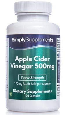 Apfelessig 500mg - 120 Kapseln - Versorgung für bis zu 2 Monaten - Fördert einen normalen Cholesterinspiegel und Blutdruck - Simply Supplements