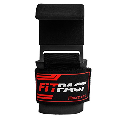 FITPACT-Hook-Straps-Weight-Lifting-Wrist-Straps-Training-Gym-Bodybuilding-Powerlifting-Weightlifting-Adjustable-Non-Slip-Workout-Deadlift-Chin-up-Padded-Barbell-Grips-Comes-in-Pair