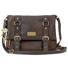 Catwalk Collection Handbags – Vera Pelle – Borse a Tracolla/Borsa a Mano/Messenger/Borsetta Donna – Con Ciondolo a Forma di Gatto – Abbey
