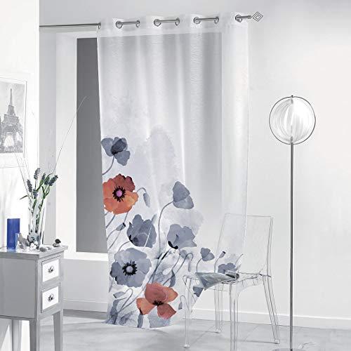 Gogostyle - bergerac - tenda per interni stampa digitale, disegno floreale, un pannello 140x280cm, supporto ad anelli, tessuto bouclè turco