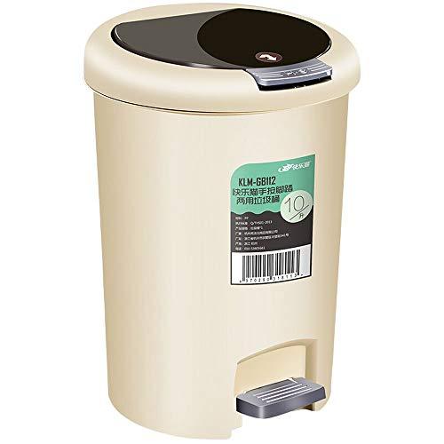 Xcco Haushalt PP Kunststoff ist super leichte rechteckige Treteimer mit Soft Close Deckel 10L kreative Mülleimer intelligente Abfall Totem für Papierkorb Toilette Haushalt Küche Wohnzimmer (Schritt Mülleimer Mit Liner)