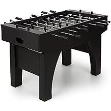 Klarfit Anfield Kickertisch • Futbolín • Barras de metal • Mesa de juegos • Depósito de bolas • Tamaño de competición • MDF • Construcción sólida • Bolas de corcho natural • 140 x 88 x 74 cm • Negro