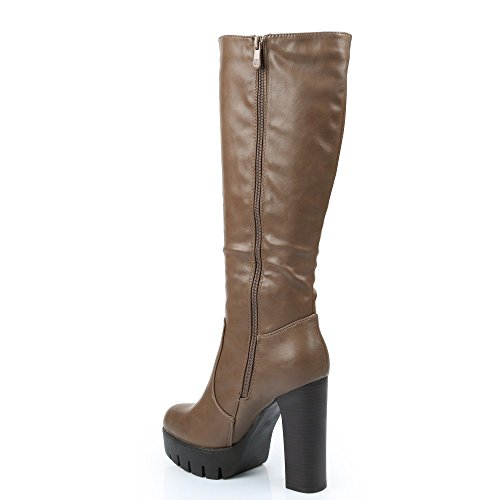 Ideal Shoes–Stivali con tacco spessa in similpelle Vanina Grigio