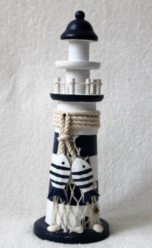 Holz Leuchtturm 28cm blau-weiss mit 2 Fischen aus Holz STRAND