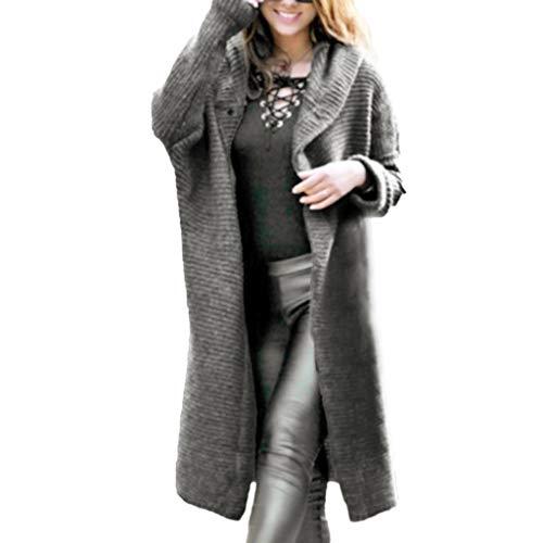 Top Kleidung Damen Day.LIN Womens Casual Langarm Strickjacke Jacke Lady Coat Jumper Strickwaren Kontrastfarbe Nähen Wolle Mantel Langer Mantel (Grau, EU38 /L)