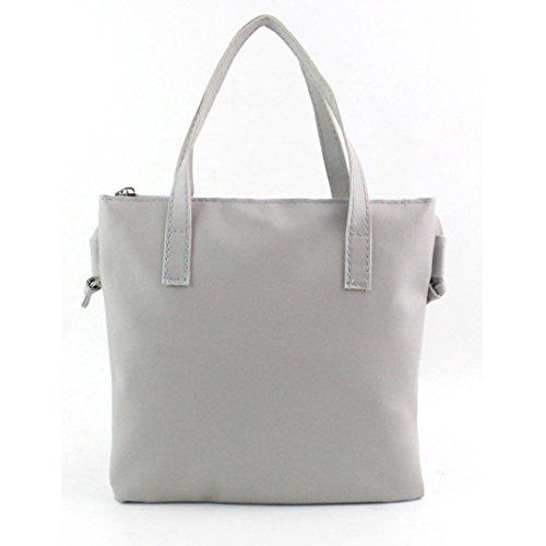 Brezeh Fashion Damen-Handtasche/Schultertasche, Kunstleder Tote Einheitsgröße grau (Canvas-sommer-tote)