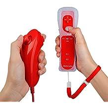PowerLead Wii Remote Controller con Motion Plus integrato e Nunchuck rossi + Custodia in silicone