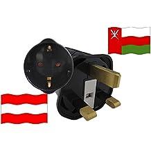Congedo Adattatore universale da viaggio Oman per dispositivi in Austria sicurezza bambini e protezione di contatto 250V