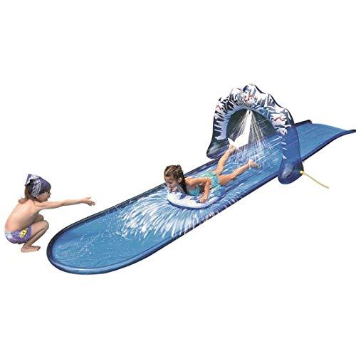 Jilong Ice Breaker Water Slide 500x95 cm Wasserrutschbahn mit Surfboard Wasserrutsche Wasserbahn Rutschbahn inkl. Wassersprüher Sprühfunktion zum Anschluß an Gartenschlauch
