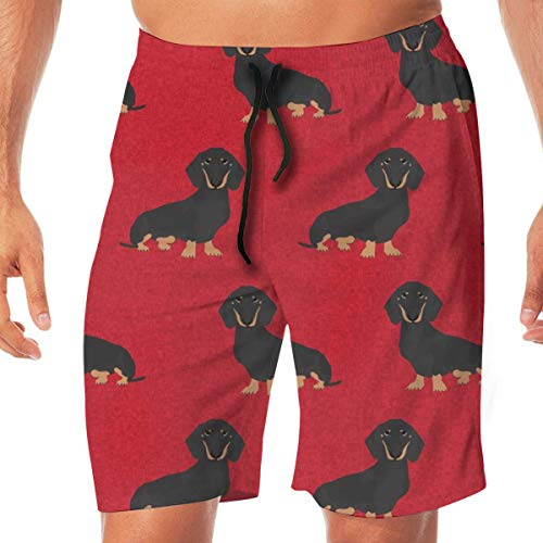 Personality Dachshund Pet Quilt A Dog Breed Coordinates Cheater Quilt Black and Tan_603 Men Swim Trunks Surf Beach Holiday Party Swim Shorts Beach Pants Reef Quilt