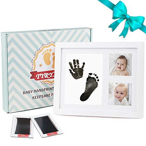 Baby Handabdruck und Fußabdruck Bilderrahmen Kit für Jungen und Mädchen Holz Foto Rahmen Personalisiertes Geschenkset für die Dusche mit Sicherem Acrylglas 2 Tinten - 01 Tinte