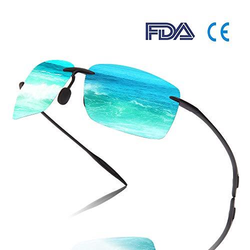 Bloomoak Polarisierte Sportsonnenbrille  Herren  Damen / UV-Schutz/TR90 Randlos Unzerbrechlich Rahmen - geeignet zum Fahren/Laufen/Radfahren/Angeln/Golf (Blau)