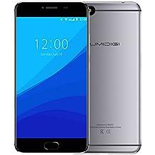 Smartphone Libre 4G de 5.5''HD ,UMIDIGI C NOTE Telefonos Moviles Libres - Dual Sim Smartphone Barato , ROM de 3GB RAM + 32GB, MTK6737T Quad Core 1.5Ghz, Cámara de 13MP/5MP, Batería 3800mAh, Huellas Dactilare, GPS, Android 7.0, (Gris)
