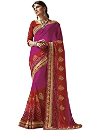 EthnicJunction Women's Georgette Bandhani Zari Lace Border Saree With Blouse(Pink With Red Shadow,EJ1173-5274 A)