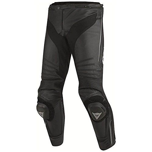Dainese-MISANO PERF. Pantaloni da moto di pelle, Nero/Nero/Antracite, Taglia 48