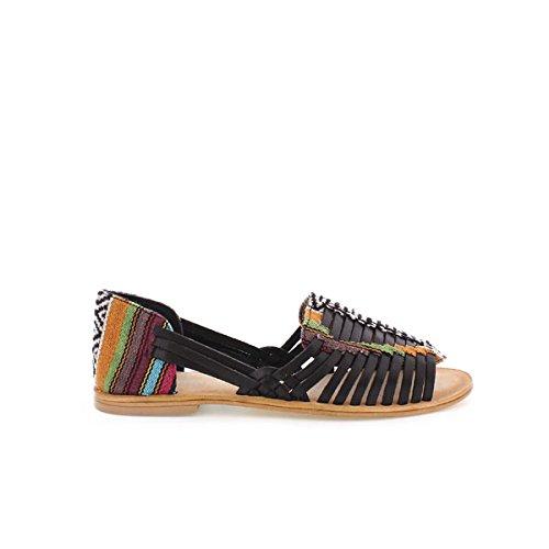 Mtng Donna, Sandalo, 94455 Vaqueta Negro / Textil Etnic Cuero, Nero (Vaqueta Negro / Textil Etnic Cuero), 40
