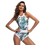 JMETRIC Damen Blumendruck Einteiliger Badeanzug Hängender Hals Rundhals Bikini Set(Grün,M)