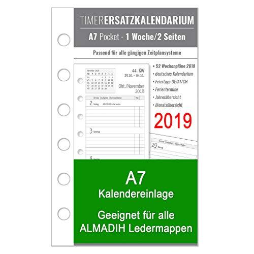 A7 Kalendereinlage 2019 für ALMADIH Ledermappen: A7 Terminplaner, Organizer & Kombimappe (1 Woche auf 2 Seiten) Ersatzkalendarium Kalendarium Kalender Einlage Zeitplaner Jahresplan (A7 2019 - Pocket)