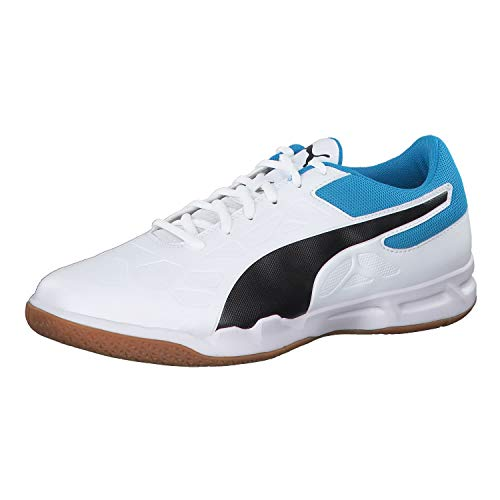 Puma Unisex-Erwachsene Tenaz Multisport Indoor Schuhe, Weiß White Black-Bleu Azur-Gum, 40 EU