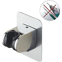 Support de Douche à Main, Support de tête de douche à main réglable mural, Sans percer le bâti de support de douche 3M, Imperméable, Réutilisable, ABS Chrome poli