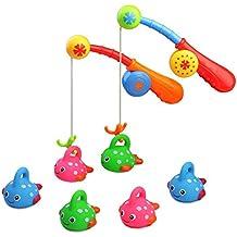 Juguete de Baño y Pescar con 6 Flotantes de Goma Peces Lindos Juego de Agua para Bebe Niños