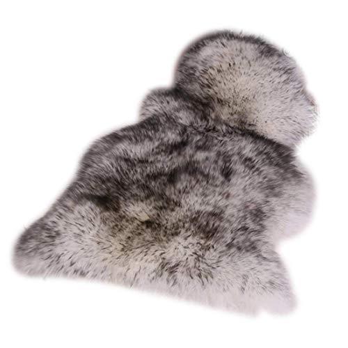 UniM weicher Bereich Teppich echten australischen Schaffell Teppich One Fell 2\'x 3\' Natur Fell, Wolle, weiß/schwarz, 1 Pelt