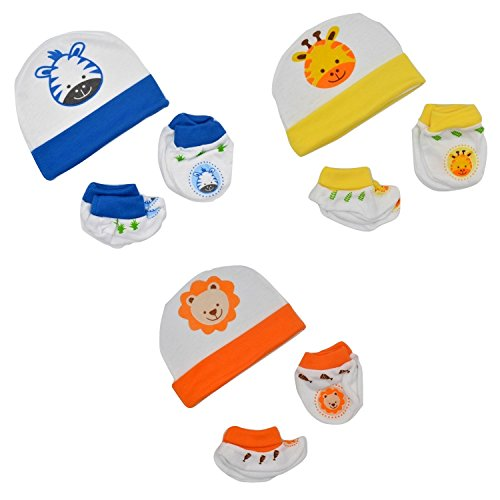 Baby Bucket Premium Quality Light Weight Regular Fit Hosiery Material Stretchable Baby Caps,Mittens and Booties Set (WH & ORN & YEL)