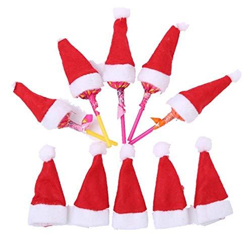 Modecor - 10 Mini Cappellini Babbo Natale Per Lecca Lecca