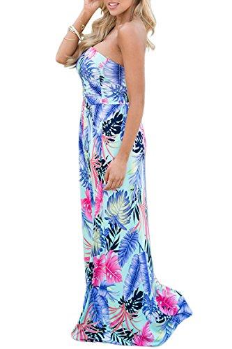 YMING Damen Bandeau Kleid Strandkeid Sommerkleid Blumen Druck Maxikleid,S-XL,DE 36-44 Blau,Tropische Blätter