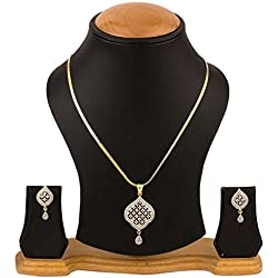 YouBella American Diamond Gold Plated Pendant Set with Chain and Earrings for Women