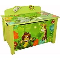 Homestyle4u 644 Kinder Spielzeugtruhe Dschungel Tiere, Spielzeugkiste mit Deckel klappbar, Aufbewahrungsbox, Grün preisvergleich bei kinderzimmerdekopreise.eu