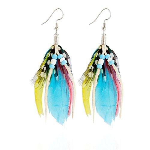 Babysbreath Pendientes de plumas de colores Pendientes de pendientes P