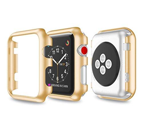 samLIKE Ultra-Slim Electroplate PC Schutzhülle für Apple Watch Series 3 38mm (Gold)