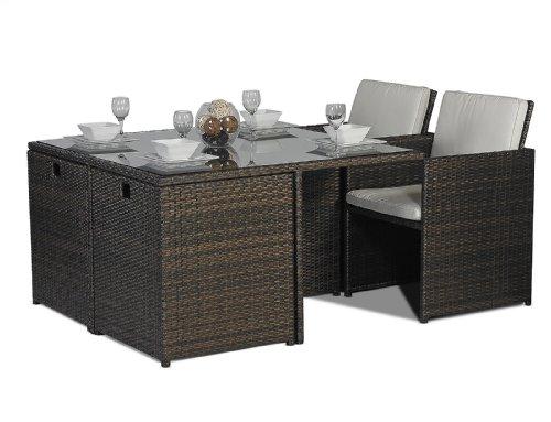 Savannah giardino rattan garden furniture glass cube for 12 seater glass dining table