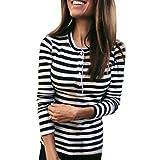 Hanomes Damen Shirt,FrühlingHerbst Mode Streifen Pullover Casual Langarm StretchTops Slim Fit Strickpullover Knopf Rundhalsausschnitt Langarm T-Shirt