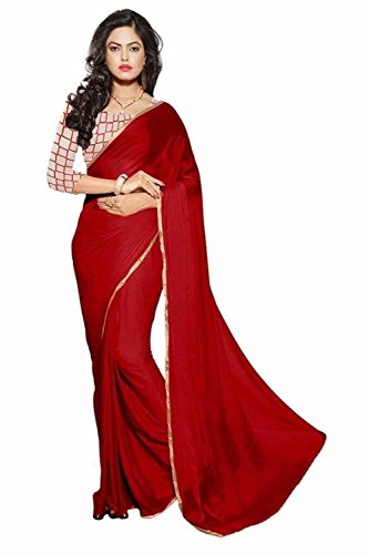 Sansaar Sarees chiffon Maroon colored Plain Saree comes with Matching Net Fabrics Unstitched blouse.
