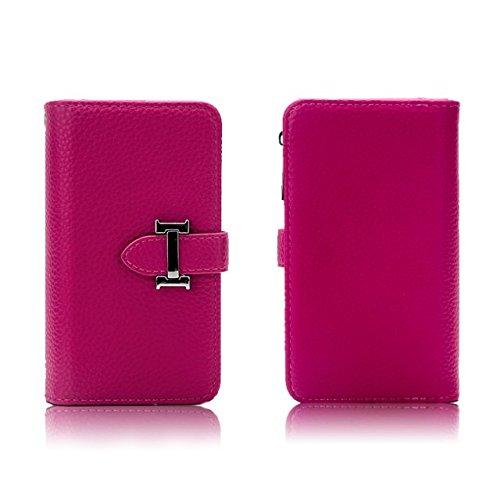 Solid Color Litchi Skin PU Leder Magnetic Closure Pattern Schutzhülle mit Card Slots & Zipper Pouch & Abnehmbare Back Cover für iPhone 6 Plus & 6s Plus ( Color : Red ) Rose