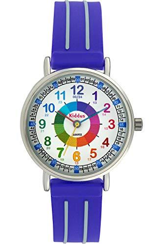 Kinderuhr Armbanduhr für Jungen DIE UHRZEIT Lernen (12- & 24- Uhr), wasserfest, hohe japanischer Quarzmechanismus, Lange andauernd Batterie, in Geschenk-Box, erster Time Teacher, Blau KI10301