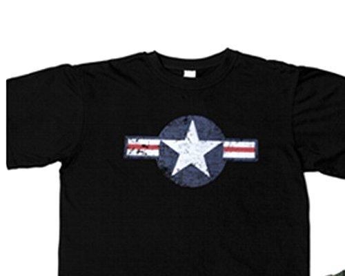 USAF Air Corps Kokarde T-Shirt Vintage US Army Rockabilly Nose Art (XXL, Schwarz) (Army Schwarz Vintage Air)