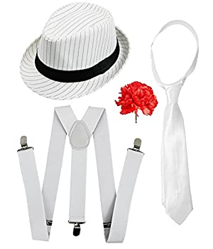 fbe0c1d2e49 GANGSTER SET FANCY DRESS ACCESSORY COSTUME DELUXE KIT WHITE PINSTRIPE TRILBY  HAT + WHITE BRACES AND TIE MOB GANGSTER MEN AL CAPONE