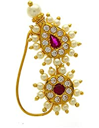 Anuradha Art Pink Colour Pearl Beads Styled Adorable Designer Traditional Maharashtrian Nath Nose Ring For Women/Girls
