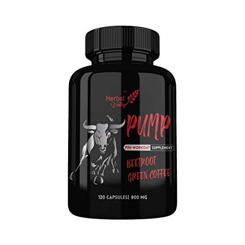 HerbalValley Pump Pre-workout 120 Capsules | Beetroot and Green Coffee