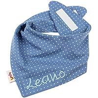 Jersey - Halstuch mit Namen personalisiert * Pünktchen jeansblau * Sabbertuch