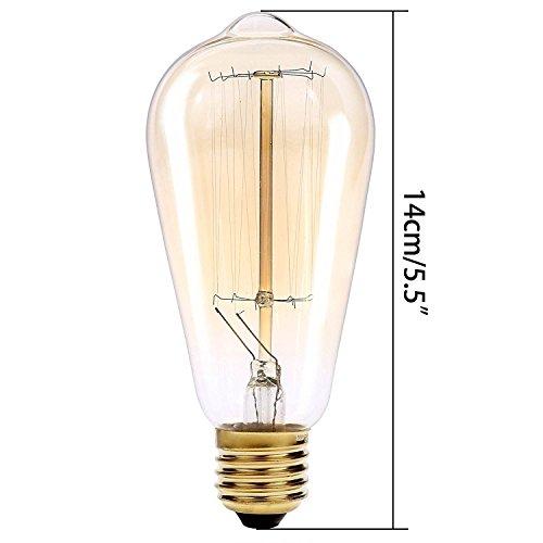 lbbdb Leuchtmittel Retro Altmodisch Edison Stil Vintage Lichtquelle E27Schraube Glühbirne Eichhörnchen Käfig Tungsten Filament Glas T45220V 4w (Käfig Light-anhänger 4)