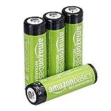 AmazonBasics - Juego de 4 pilas recargables AA Ni-MH (precargadas, 1000 ciclos, 2000 mAh/mínimo 1900mAh) - La cubierta exterior puede variar