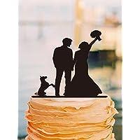 Vintage acrilico topper per torta nuziale sposa e sposo sagoma di cane Keepsake wedding cake topper