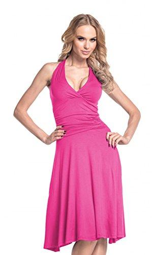 Glamour Empire. Femme Robe patineuse sans manches décolleté cache-coeur. 145 Fuchsia